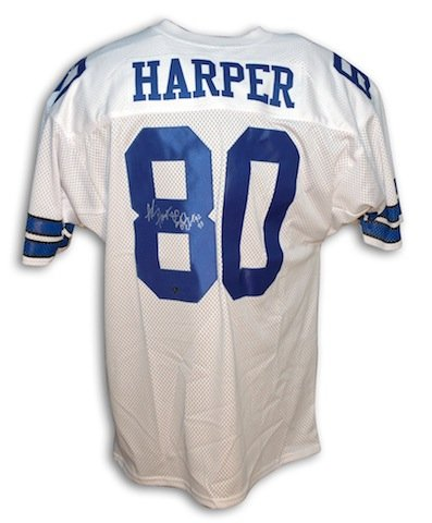 1a3e0523 Image Unavailable. Image not available for. Color: Autographed Alvin Harper Dallas  Cowboys White Throwback Jersey ...