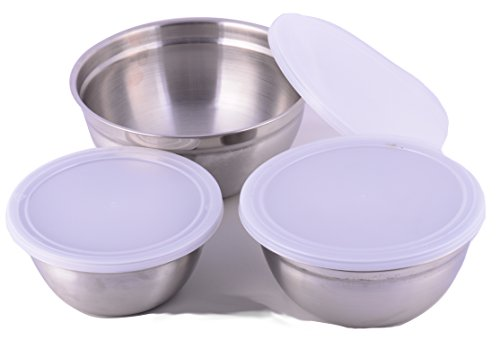 Cuissentials Stainless Steel Mixing Bowls Kitchen Deep with Plastic Lids Set of 3 Prep Bowls Fine Dining 6 Pieces Flat Base Sizes 3/4, 1.25, 1.5 Quarts Qt