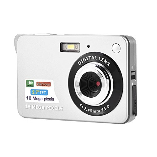 HD Digital Camera Slim Camera HD 720P Video Camera Digital Student Camera 2.7 Inches LCD for Indoor Outdoor (Silver)