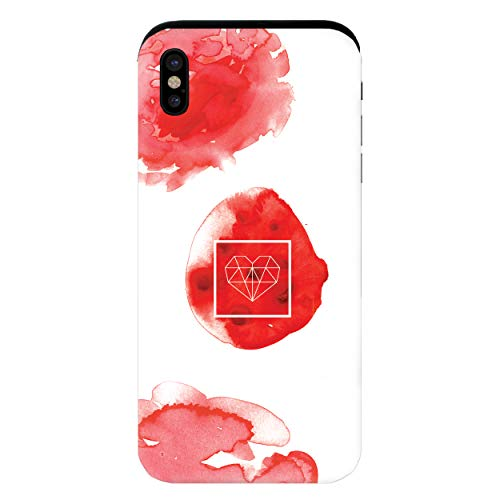 YANcase Feeling Red Image Compatible with Apple iPhone X or iPhone Xs Bumper Frame Dual-Layer Protective Wallet Phone case with Sliding Card Holder Slot - Matte White