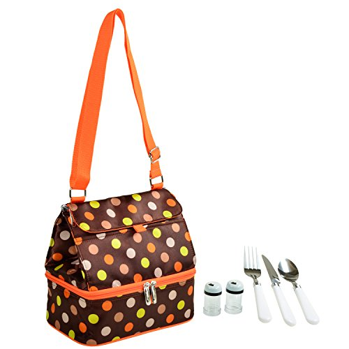 Picnic at Ascot Fashion Insulated Lunch Bag With Service For One, Julia Dot