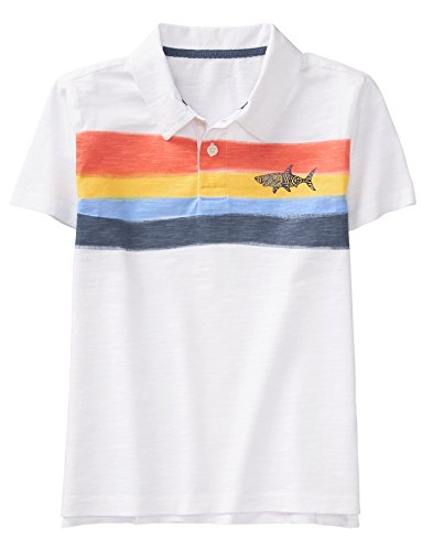 Gymboree Boys' Little Short Sleeve Polo Shirt, White Shark XS