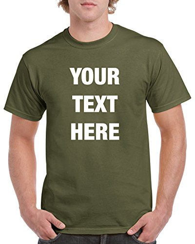 (Custom Personalized Gildan t-shirt Your Text Here No Minimums - Military Green X-Large)