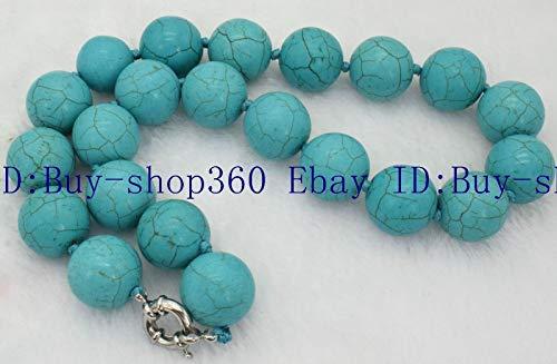 FidgetFidget Natural 18mm Blue Turquoise Gems Round Beads Necklace 36