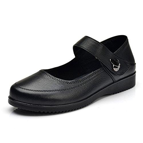 Zapatos de fondo suave/Zapatos hebilla baja cómodo madre/Zapatos de las mujeres de talla grande A