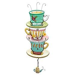 Allen Designs Spot of Tea Swinging Pendulum Clock by 15x8.25 inches