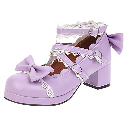 Nonbrand BIGABIGA Women Sweet Bow Lolita Shoes with Lace Mid Block Heels