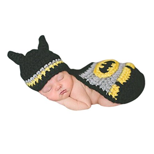 Liange Newborn Baby Photography Prop Crochet Knitted Handmade Batman Hat Cape (Handmade Batman Costume)