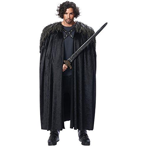 Costume Culture Men's Big Medieval Cape Adult Deluxe, Black, Standard ()