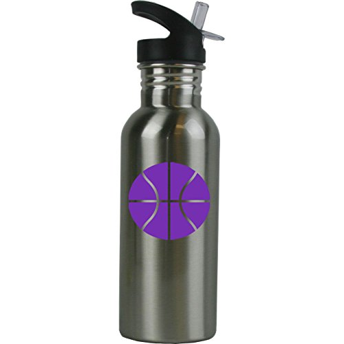 Personalized Custom Basketball Stainless Steel Water Bottle with Straw Top 20 Ounce Sport Water Bottle Customizable, Purple