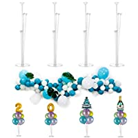 4 Pack Balloon Stands Centerpieces with Balloon Garland Chain and Balloon Tie Set for Table Birthday Baby Shower Wedding Decoration by Party Zealot