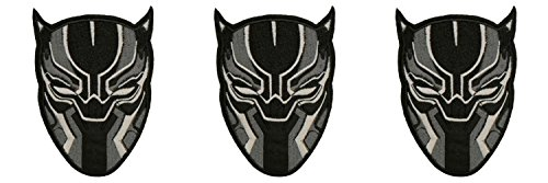 BLACK PANTHER WAKANDA Patch 3 Pcs Superhero Comics Logo Character Theme Series New 2018 Marvel Movies Embroidered Sew/Iron on Badge DIY (The Office Three Hole Punch Costumes)
