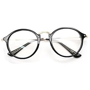 V.W.E. Vintage Inspired Metal Bridge Round Oval Clear Lens Eye Glasses