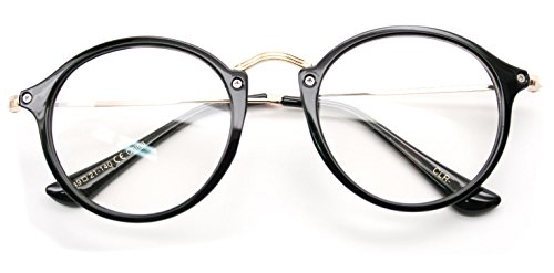 V.W.E. Vintage Inspired Metal Bridge Clear Lens Glasses (Black Gold, - Stylish Black Glasses