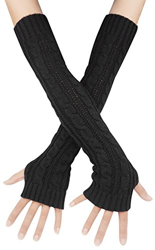 Womens Lady's Long Sleeve Fingerless Arm Warmers Gloves, One Size Black]()