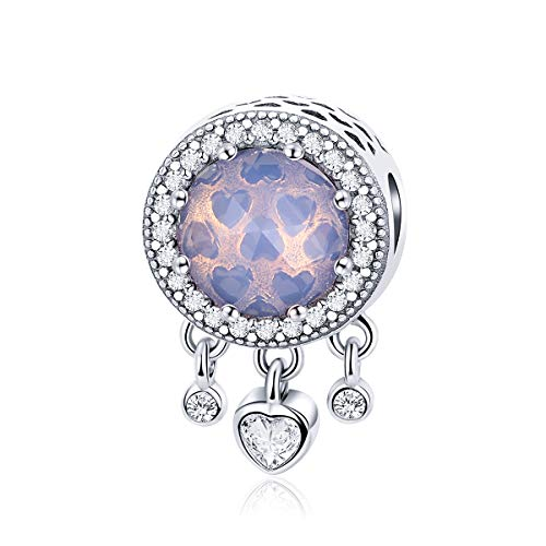 - WOSTU 925 Sterling Silver Bead Charms Opalescent Pink Crystal Radiant Hearts Charms for Charm Bracelets