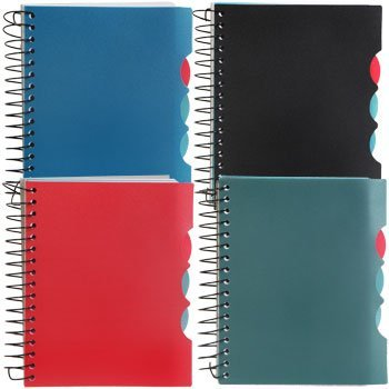 (Set of 4 (1 each color) Spiral Notepads with 4 Dividers, 150 sheets each (sheet size 4