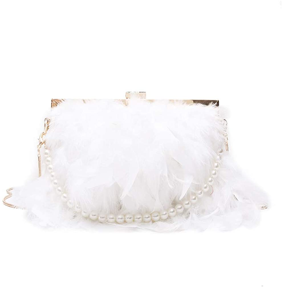 FENICAL Evening Purse with Pearl Strap Chain Clutch Bags Feather Crossbody Bag for Women Girl Ladies (White)