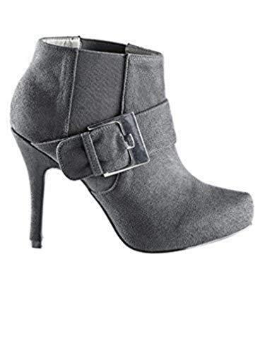 Gris Best Material Stiefelette Zapatos Sintético Cordones Mujer Connections De STrSBcgq
