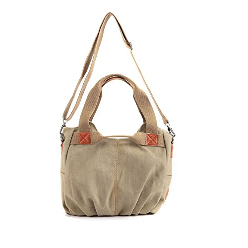 Simple Color Block Women Canvas Shoulder Bag - 1