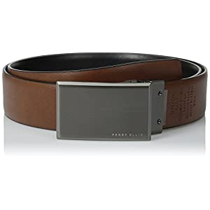 Perry Ellis Men's Portfolio Patterned Plaque Belt, Black/Brown Reversible, 34