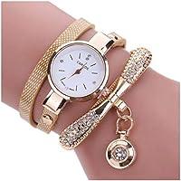 Inkach Women Leather Rhinestone Analog Quartz Wrist Watches Gift (Beige)