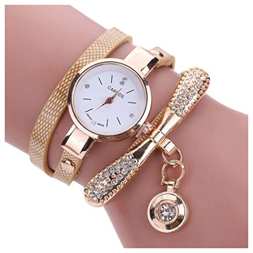 Inkach Women Leather Rhinestone Analog Quartz Wrist Watches Gift (Beige)