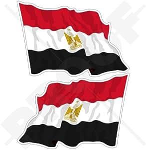 """EGIPTO Bandera Ondeante Egipcia 4,7"""" (120mm) Pegatinas de Vinilo Adhesivos, Stickers, Calcomanías x2"""