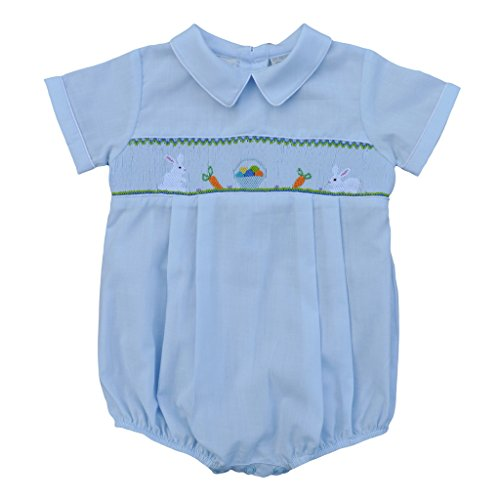 Carriage Boutique Baby Boy Blue Creeper - Hand Smocked Easter Bunnies, 6M (Newborn) ()