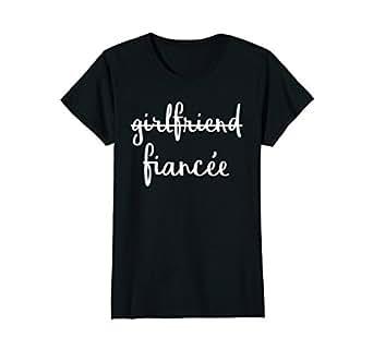 Womens Girlfriend Fiancee T Shirt, Fiance Engagement Party Tshirt Small Black