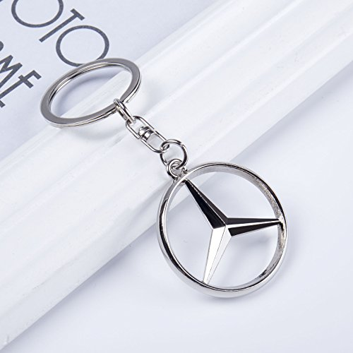 QZS Mercedes Benz 3D Chrome Metal Key Chain Car Logo Key Ring, Best for Gifts
