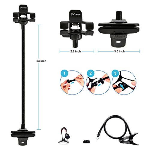 Phone Holder, Costech Heavy Duty Metal Gooseneck Long Arm Fashion Flexible Stand Lazy Bracket 360-degree Rotating Mount Clip on Holder for Iphone, Samsung, and More Other Mobile Phone (Black) by Costech (Image #1)