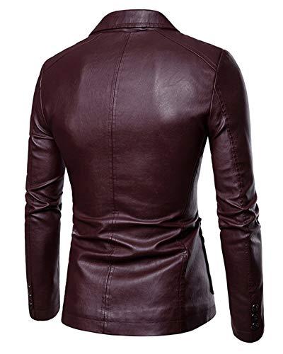 Rouge Revers Veste Homme Grande En Unie Coupe Yonglan Cuir Pu Vin Taille Blazer Slim Couleur Xf7q6nw