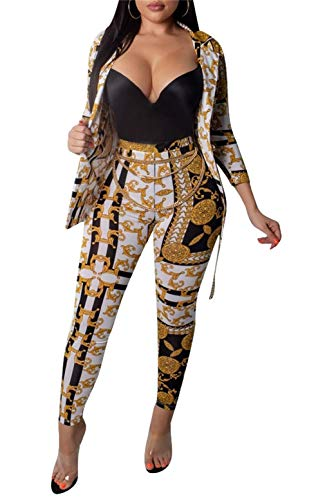 LROSEY Womens 2 Piece Outfits Long Sleeve Bodycon Jumpsuits Skinny Long Pants Set Floral Print Bodysuit Gold