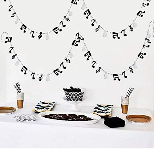 Furuix Music Note Garland G Clef Garland, Music Party Banner, Music Theme Party Decorations, Music Birthday, Rock Star BirthdayRock and Roll Party, Music Theme Party -
