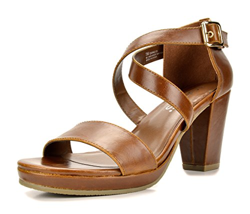 TOETOS DIANE-03 New Women's Cross Strap Open Toes Mid Chunky Heels Platform Dress Sandals TAN Size 6