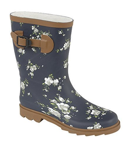 Womens Girls Northwest Territory Waterproof Wellington Wellies Winter Boots Navy Blue Blossom
