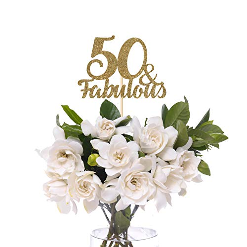 50 and Fabulous centerpiece. SET OF 3. Birthday party table decor, 30th, 40th, 50th, 60th, 70th, 80th, 90th any birthday party decor.]()