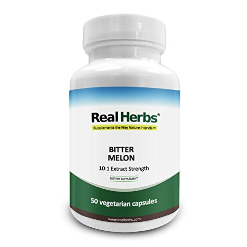 Herbs Bitter - Real Herbs Bitter Melon Extract 750mg Dietary Supplement - 50 Vegetarian Capsules