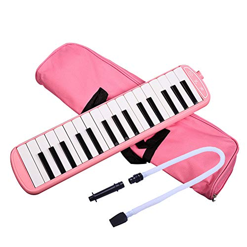 - 32 Key Melodica Instrument Keyboard Soprano With Mouthpiece (Pink)