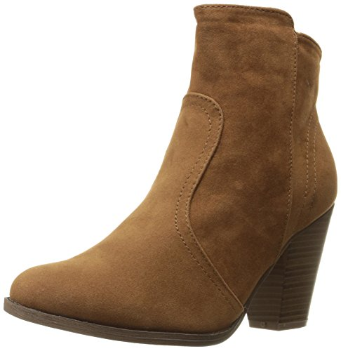Breckelles Womens HEATHER-34 Faux Suede Chunky Heel Ankle Booties Tan