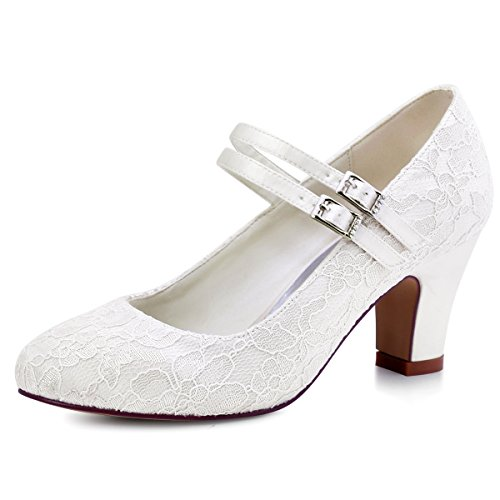 ElegantPark HC1708 Women Mary Jane Block Heel Pumps Closed Toe Lace Bridal Wedding Shoes Ivory US 10