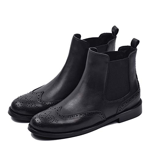 Boot Black Genuine Leather Wingtip Brogues Chelsea Boots Low Heel Booties For Spring (8, Black) ()