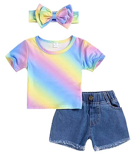 Baby Girl Colorful Rainbow T-Shirt+Denim Shorts Pants 3Pcs Summer Outfit Clothes Set Size 1-2 Years/Tag90 (Blue)