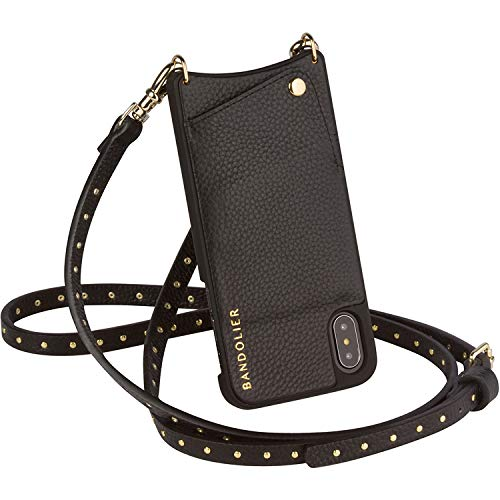 Gold Studded Leather Snap - Bandolier [Nicole] Crossbody Phone Case and Wallet - Compatible with iPhone 8, 7, 6 - Black Pebble Leather with Gold Detail