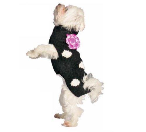 Chilly Dog Black Polka Dot Flower Dog Sweater, Large