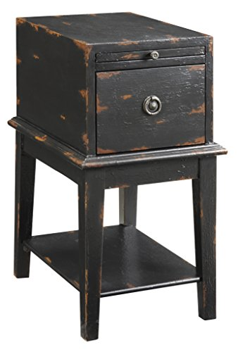 Treasure Trove Accents Chairside Chest, Weathered and Distress Black Rub Through - Rub Through Finish Black