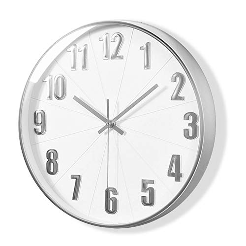 (Silver Wall Clock, MixArt Silent Non Ticking - 12 Inch Quality Quartz Battery Operated Round Modern Home/Office/School Clock (White Dial, 3D Numbers Display))