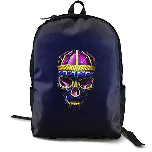 (School Daypack Backpack, Big Capacity Rucksack for School Picnic Running, Sugar Skull Art Bright Travel Hiking Backpack for Girls Boys, Back To School Gift)