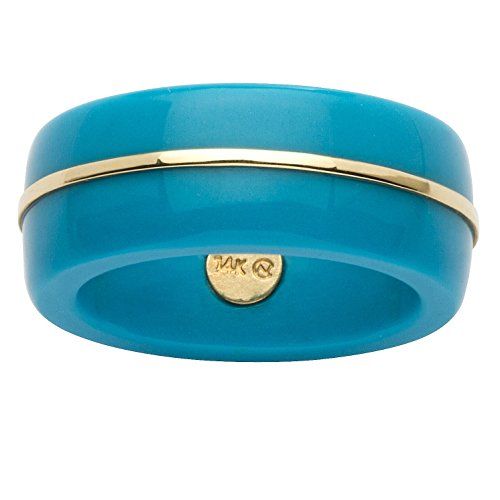 Round Viennese Turquoise 14k Yellow Gold Ring Band (14k Yellow Gold Turquoise Ring)